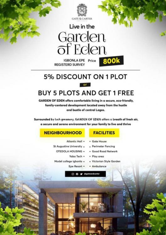 Serviced Plots of Land, Garden of Eden, Igbonla, Epe, Lagos, Land for Sale