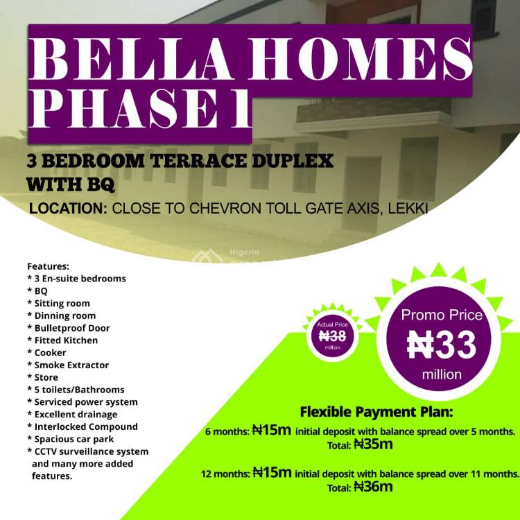 3 Bedrooms Terrraced Duplex with Bq, Bella Homes, Close to Chevron Toll Gate, Lekki Expressway, Lekki, Lagos, Terraced Duplex for Sale