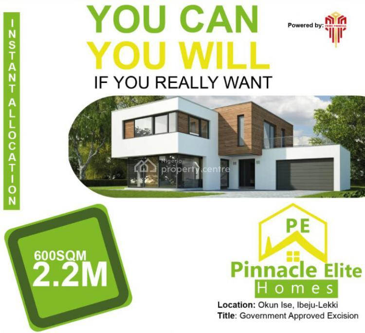 Dry Lands Available at Pinnacle Elite Homes with Approved Excision, Pinnacle Elite Homes, Okun-ise, 2mins From Lacampagne Tropicana Resort., Ibeju Lekki, Lagos, Residential Land for Sale