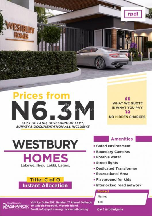 Westbury Homes (c of O), Lakowe, Ibeju Lekki, Lagos, Mixed-use Land for Sale