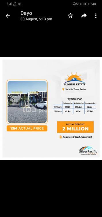 Land, Sunrise Estate, Satellite Town, Ojo, Lagos, Residential Land for Sale