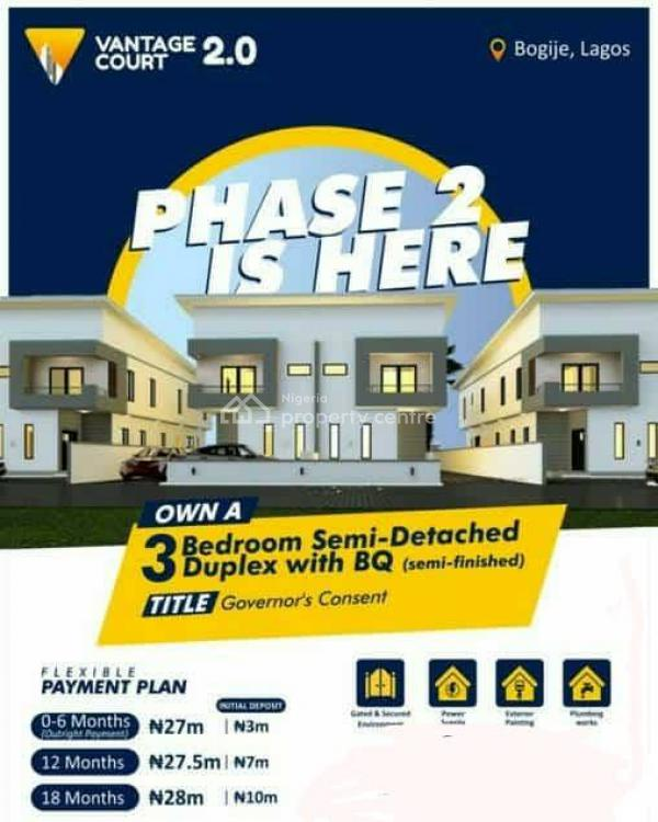 3 Bedroom All Rooms En-suite Semi-detached Duplexes with Bq, Vantage Court 2 Bogije, Epe, Lagos, Semi-detached Duplex for Sale