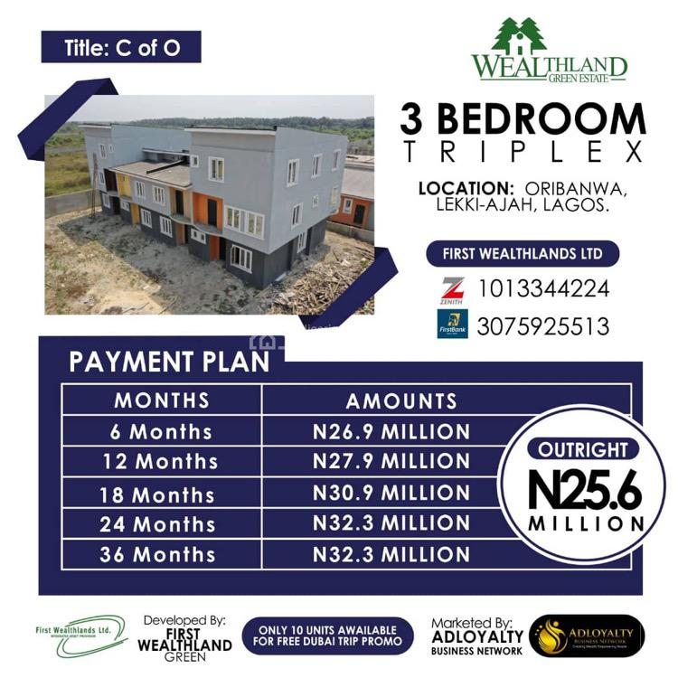 3 Bedroom Triplex, Oribanwa, Ajah, Lagos, Mixed-use Land for Sale