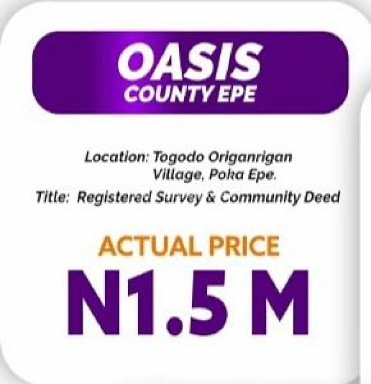 100% Dry Land: C of O, Oasis County, Epe, Lagos, Land for Sale