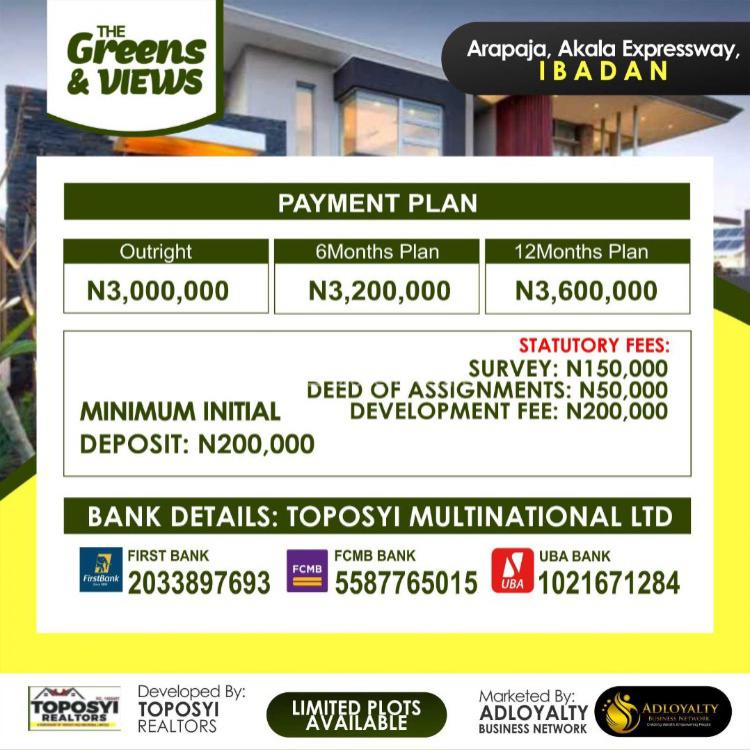 100% Dry Land, The Greens & Views Luxurious Estate., Ibadan, Oyo, Mixed-use Land for Sale