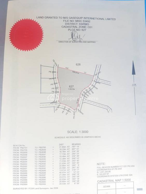 1.93ha of Residential Private Housing Land, C of O Fcda, Karmo Zone C01 By Grace Court Estate, Close to Turkish Hospital, Karmo, Abuja, Land for Sale