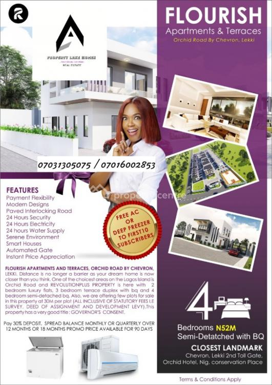 4 Bedroom Semi- Detached, Orchid Road By Chevron, Lekki, Lagos, House for Sale