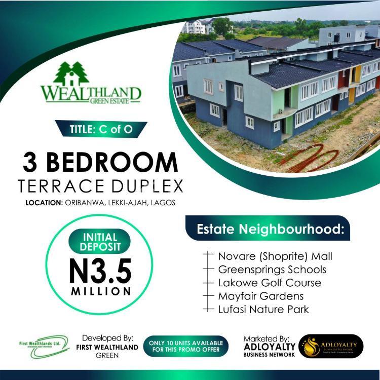 3 Bedroom Terrace Duplex, Wealthland Green Estate, Oribanwa, Ibeju Lekki, Lagos, Terraced Duplex for Sale