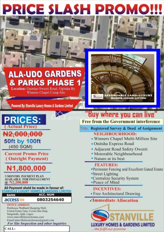 Cheapest Land, Alaudo Luxury Garden Ogbaku Owerri Onitsha Road By Winners Chapel, World Bank, Owerri, Imo, Mixed-use Land for Sale