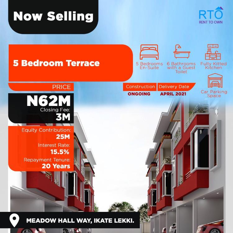 Amazing  Luxury Newly Built 5 Bedroom Terrace Triplex, Pay N25m Equity and Move in,beside Richmond Estate, Meadow Hallway, Ikate, Lekki, Lagos, Flat for Sale