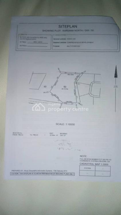 20 Hectares Fcda (r of O) Multi Purpose  Land, Karsana, Abuja, Mixed-use Land for Sale