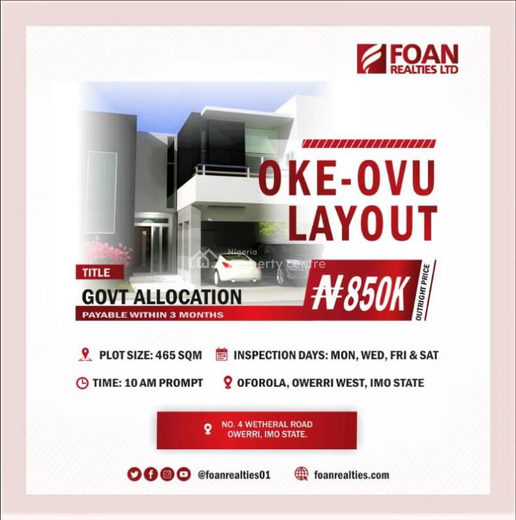 Dry Land with Government Allocation, Owerri West, Imo, Residential Land for Sale