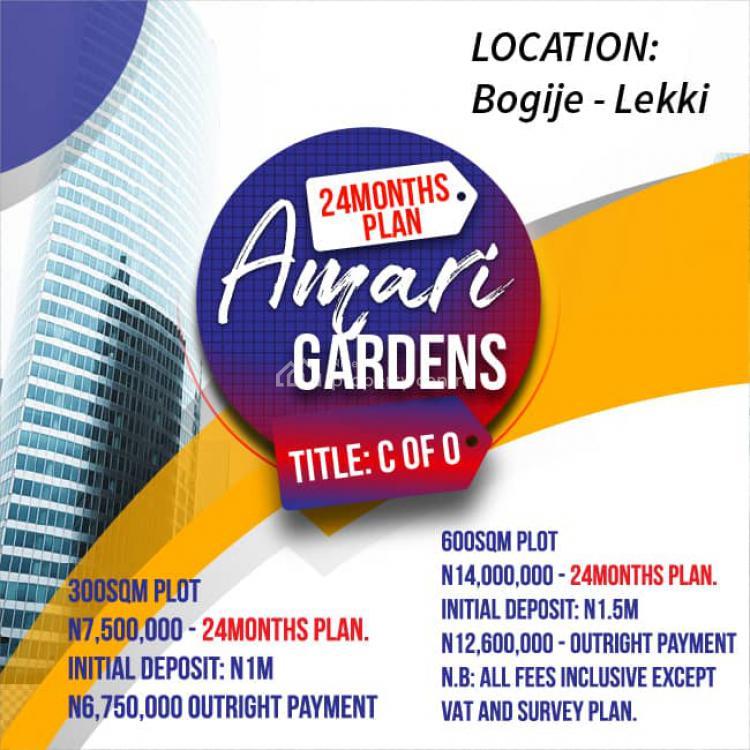 C of O, Is Located at Okun-oje, Bogije-lakowe, Lekki, About 1 Minute Off Lekki, Bogije, Ibeju Lekki, Lagos, Residential Land for Sale