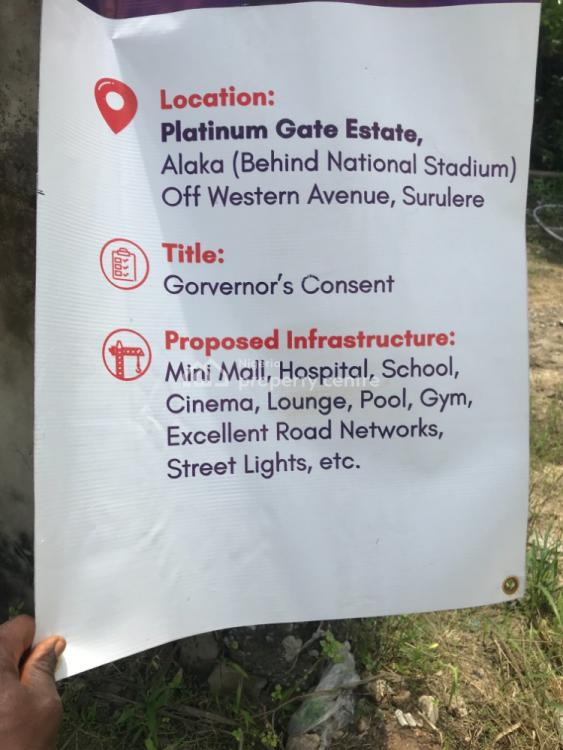 40 Acres of Land (serviced Plots) 650sqm, Platinum Gate Estate Behind National Stadium, Alaka, Surulere, Lagos, Commercial Land for Sale