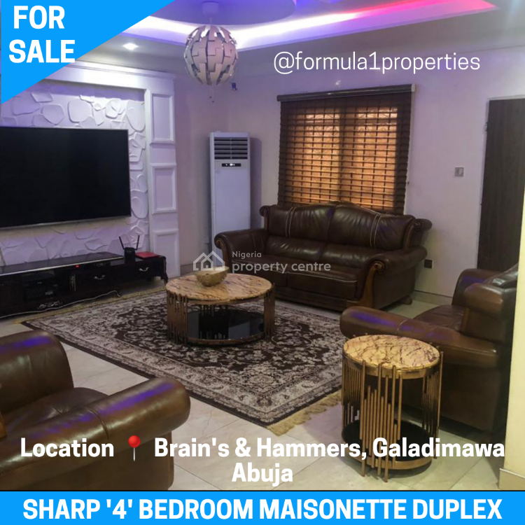a Well Finished and Furnished Masionette Duplex, Brains and Hammers Estate, Galadimawa, Abuja, Terraced Duplex for Sale
