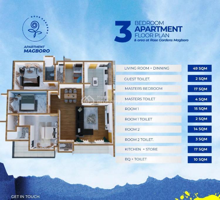 3 Bedroom Apartment with Bq, The Rose Garden Estate, Magboro, Ogun, Mini Flat for Sale