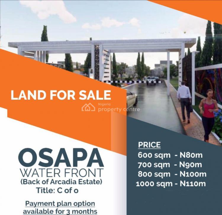 Exclusive C of O Waterfront Land, Behind Arcadia Estate, Osapa London, Osapa, Lekki, Lagos, Residential Land for Sale