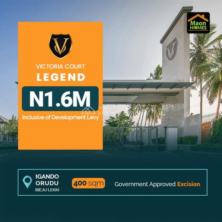 Affordable Land with Proper Government  Title., Victoria Court Legend., Igando Orudu, Ibeju Lekki, Lagos, Residential Land for Sale