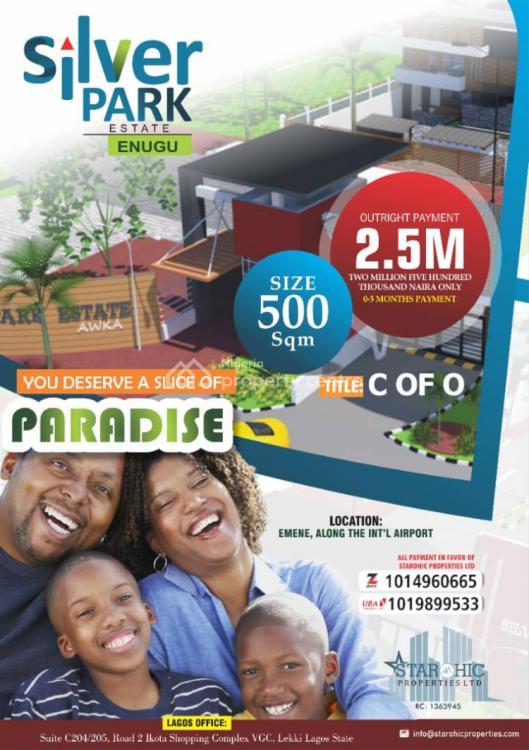 C of O Affordable Dry Land, Silverpark Estate Along The International Airport, Emene, Enugu, Enugu, Residential Land for Sale