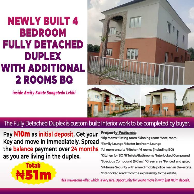 Newly Built 4 Bedroom Fully Detached Duplex with Additional 2 Rooms Bq, Amity Estate, Sangotedo, Ajah, Lagos, Detached Duplex for Sale
