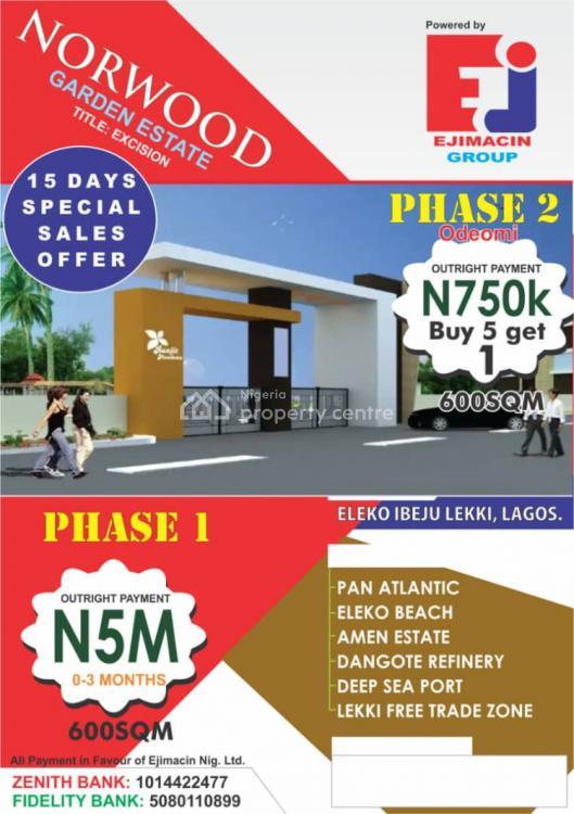 Affordable Dry Land, Norwood Garden Estate Phase 1, Eleko, Ibeju Lekki, Lagos, Mixed-use Land for Sale