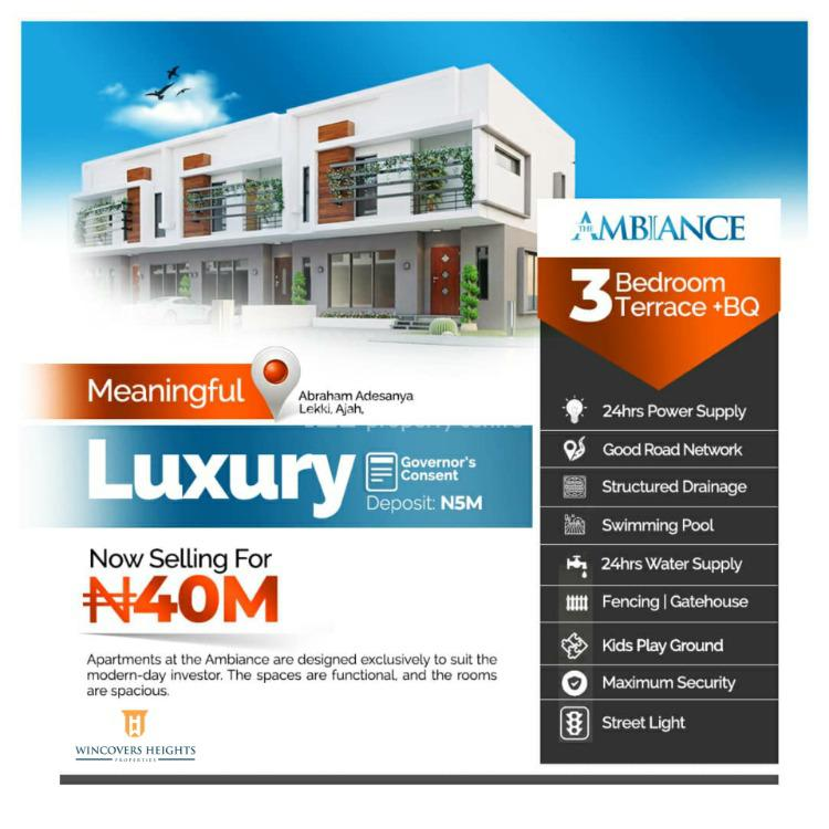 Luxurious and Very Spacious Three (3) Bedrooms Terraced Duplex with Bq, By Abraham Adesanya, Ajah, Lagos, Terraced Duplex for Sale