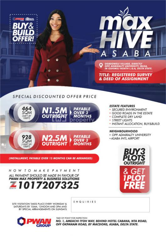 Registered Survey and Deed of Assignment, Max Hive Ibusa, Asaba, Oshimili North, Delta, Mixed-use Land for Sale