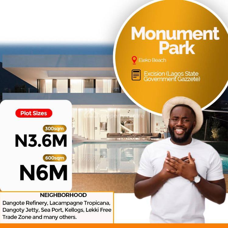 Monument Park, By Eleko Beach, Eleko, Ibeju Lekki, Lagos, Residential Land for Sale