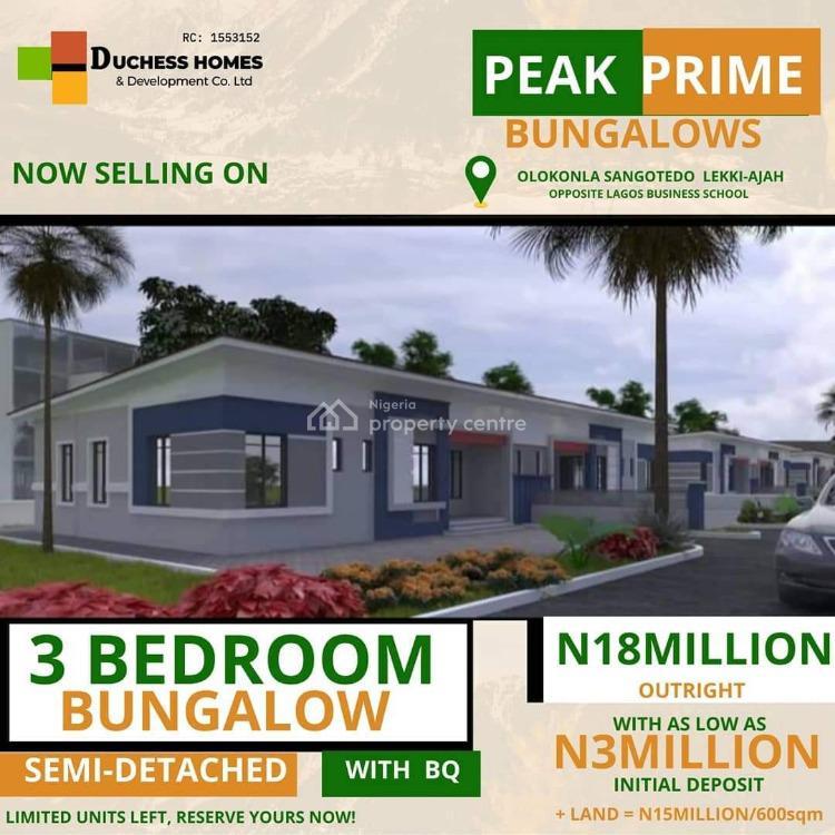 Peak Prime 3 Bedrooms Bungalow, Greenland Estate, Sangotedo, Ajah, Lagos, Detached Bungalow for Sale
