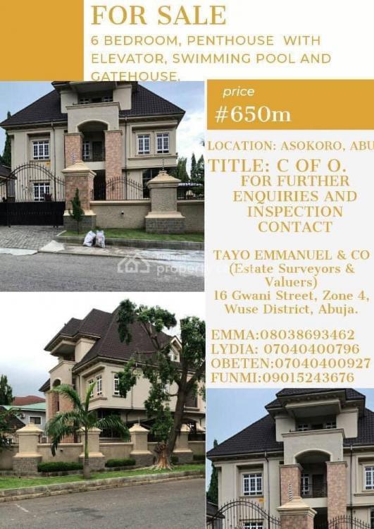 6 Bedroom Penthouse, Asokoro, Asokoro District, Abuja, Semi-detached Duplex for Sale