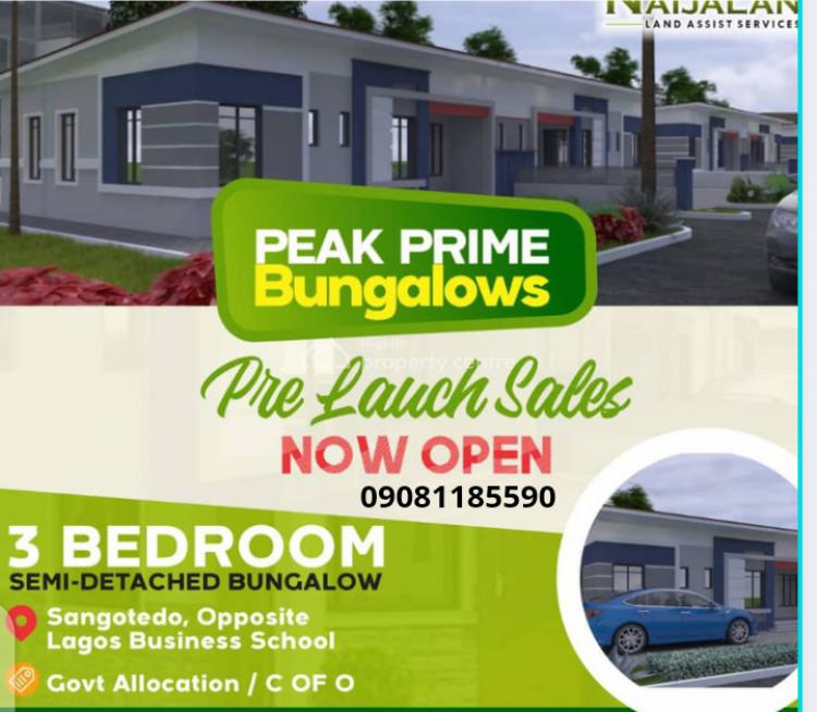 3 Bedroom Bungalow, Opposite Lagos Business School, Sangotedo, Ajah, Lagos, Semi-detached Bungalow for Sale