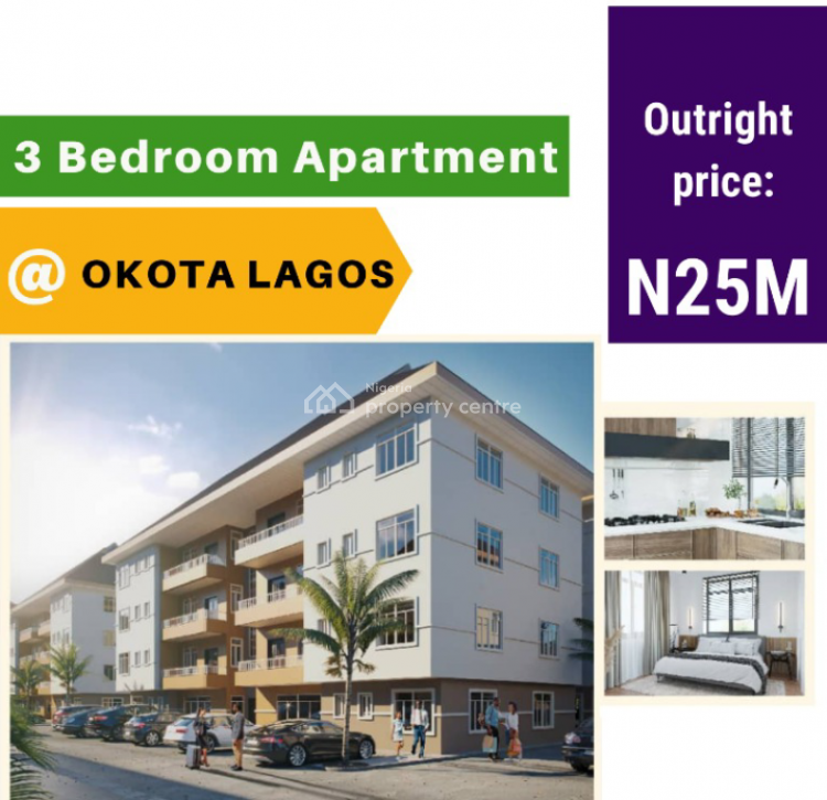3 Bedroom Apartment with 10years Payment Plan, Okota, Ago Palace, Isolo, Lagos, Flat for Sale