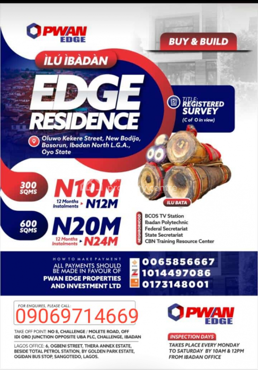 12 Plots of Land, Edge Residence Oluwo Kekere Street, New Bodija/basorun, Ibadan North, Oyo, Mixed-use Land for Sale