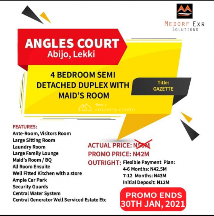 4 Bedroom Semi Detached Duplex with Maids Room, Abijo, Lekki, Lagos, Semi-detached Duplex for Sale