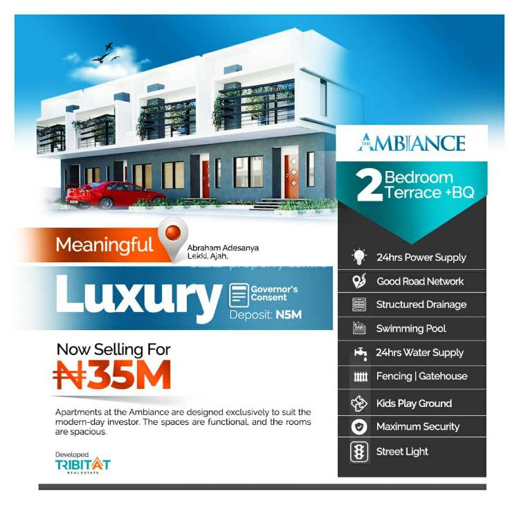 2 Bedroom Terrace with Bq, The Ambiance Residence, Ajiwe, Ajah, Lagos, Terraced Duplex for Sale