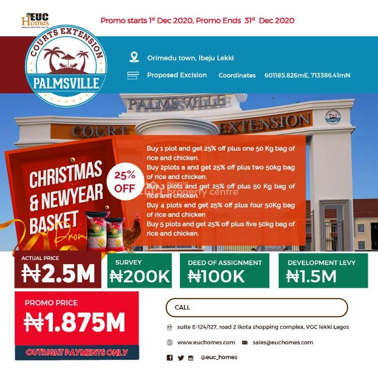 Prime Estate Land in a Good Location, Palmsville Court Extension, Orimedu, Ibeju Lekki, Lagos, Residential Land for Sale