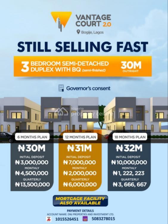 Semi Finished 3 Bedroom Semi Detached Duplex, Vantage Courts 2.0, Bogije, Ibeju Lekki, Lagos, Semi-detached Duplex for Sale