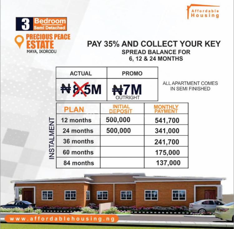3 Bedroom Detached and Semi Detached, Maya, Ikorodu, Lagos, House for Sale