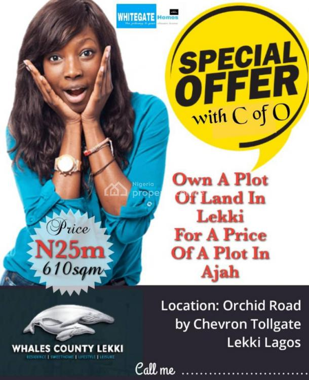 Land with C of O, in Build Up Area, Whale County Lekki, Orchid Road By Chevron Toll Gate, Lekki, Lagos, Residential Land for Sale