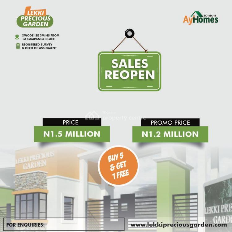 Buy 5 Get 1 Free ., 3mins From Lacapange Tropicana Lekki Precious Gardens, Owode Ise, Ibeju Lekki, Lagos, Residential Land for Sale