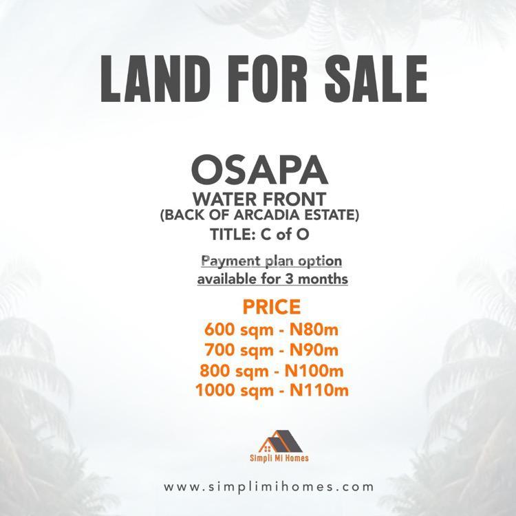 C of O, Behind Arcadia Estate, Osapa Off Lekki-epe Express Road, Osapa, Lekki, Lagos, Residential Land for Sale