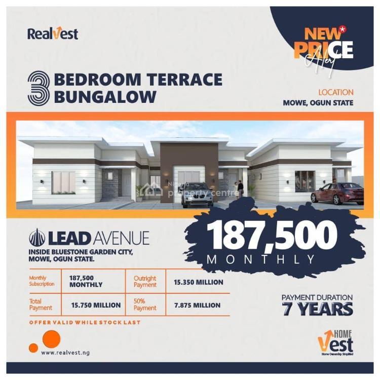 3 Bedroom Terraced Bungalow, Inside Bluestone Garden City, Mowe Town, Ogun, Terraced Bungalow for Sale