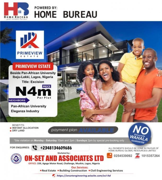 Buy and Build!, Primeview Estate,beside Pan African University, Ibeju Lekki, Lagos, Residential Land for Sale