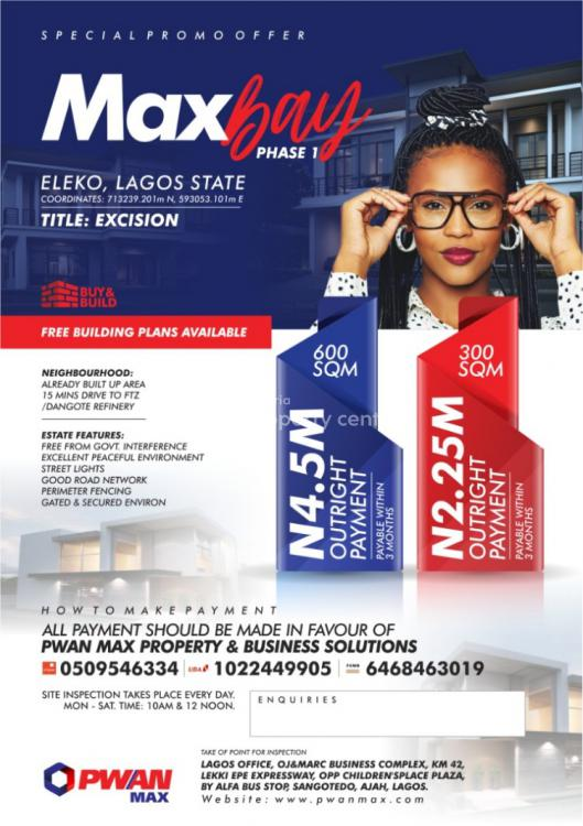 Plots of Land, Max Bay Phase 1 Eleko 1 Minute Drive From Eleko Junction, Ibeju Lekki, Lagos, Residential Land for Sale
