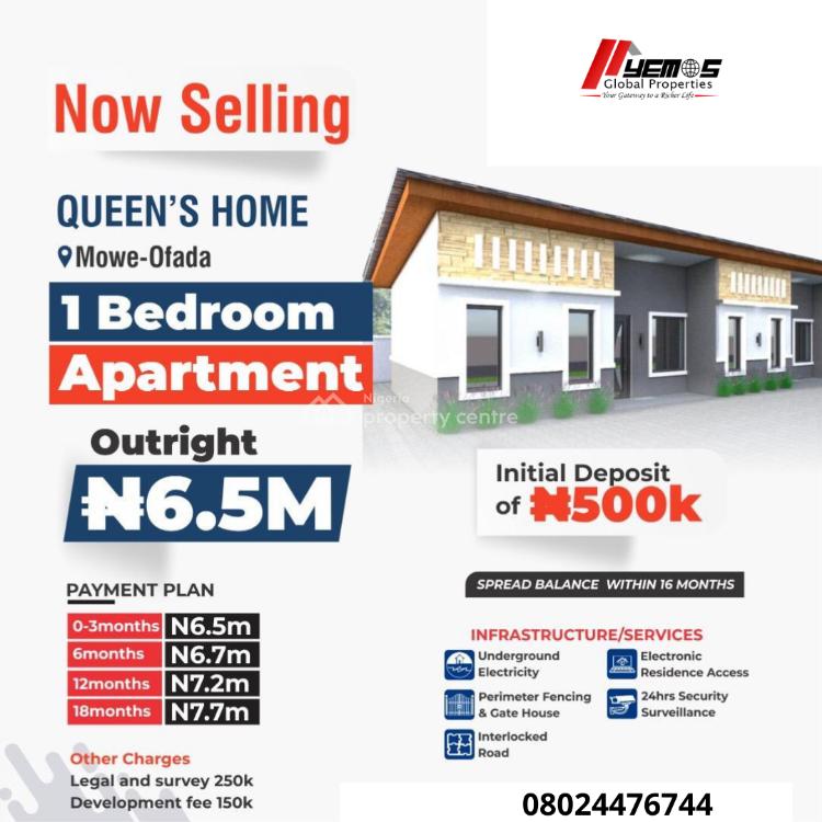 1 Bedroom Apartment, Mowe Ofada, Ogun, Semi-detached Bungalow for Sale