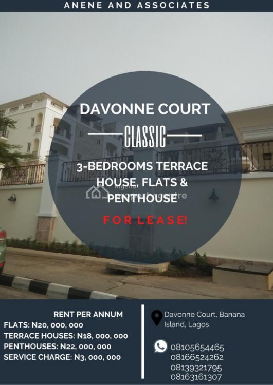 3 Bedroom Terrace House, Davonne Court, Banana Island, Ikoyi, Lagos, Terraced Duplex for Rent