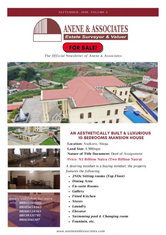 an Aesthetically Built and Luxurious 10 Bedroom Mansion, Asokoro District, Abuja, House for Sale