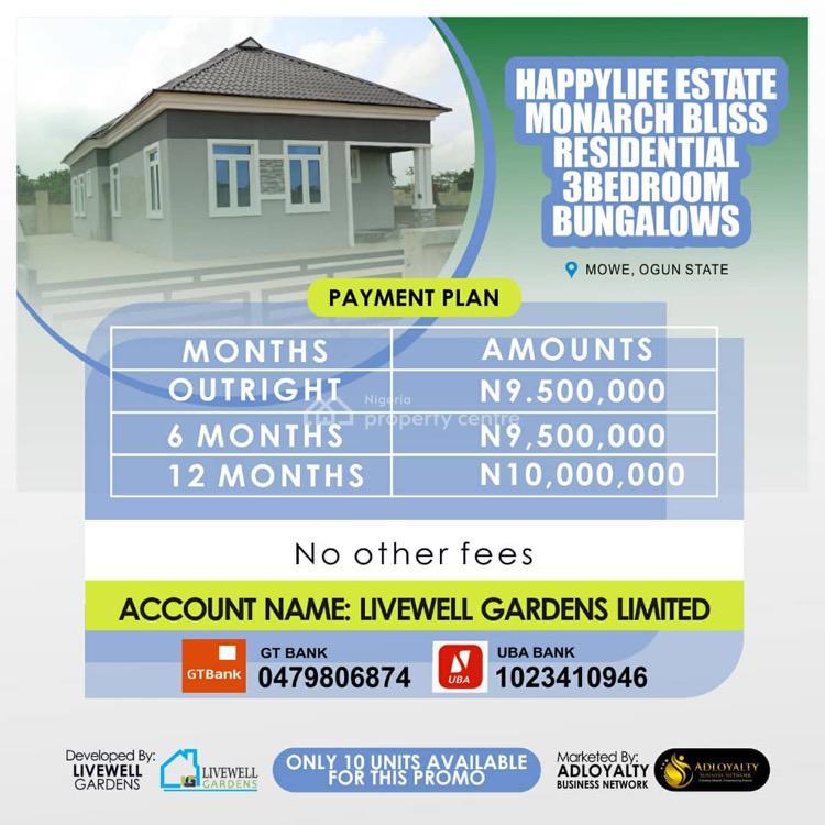 Luxury 3 Bedroom Fully Detached Bungalow, Happy Life Estate Opposite Christopher University Lagos- Ibadan Way, Mowe Town, Ogun, Detached Bungalow for Sale