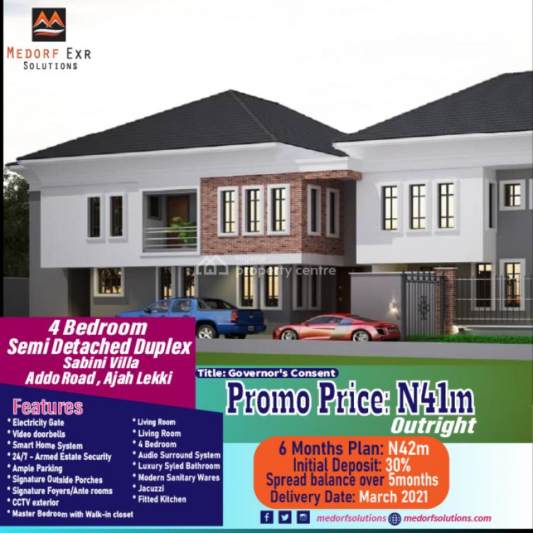4 Bedroom Semi Detached Duplex, Addo Road,ajah- Lekki, Sabini Villa, Ajah, Lagos, Semi-detached Duplex for Sale