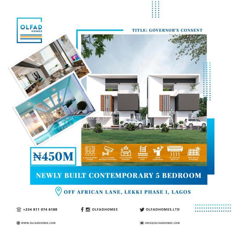 5 Bedroom Fully Detached with 2 Rooms Bq, Off African Lane, Lekki Phase 1, Lekki, Lagos, Detached Duplex for Sale